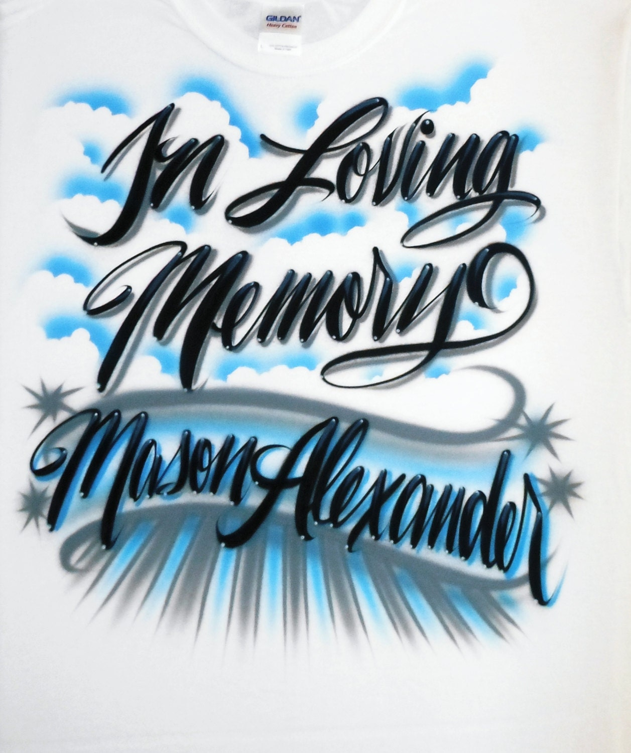 Airbrush T Shirt In Loving Memory With Two Word Name In