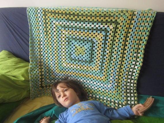 Crochet Baby Boy Blanket. Granny Square Afghan. Baptism Christening ...