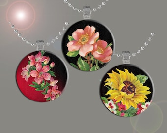 Fun Flowers- Floral Images- INSTANT DOWNLOAD- Digital Collage Sheet - 1.5 Inch Circles for Glass Pendants, Magnets and More.