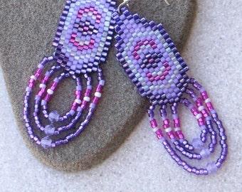 Purple Fuschia & Lavender Earrings - Drop Style Seed Bead Earring - Gift for Her - Lightweight Fringe Earring - Medium Length