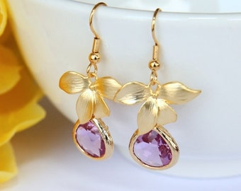 Lilac Violet Earrings - Gold Flower Light Purple Floral Earrings - Romantic Wedding Bridesmaids Gift Under 20
