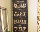 Herb word art kitchen sign - 12x36 - vintage rustic hand painted wood sign - great Christmas Gift or for any gardner.