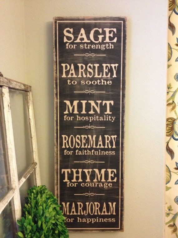 herb word art kitchen sign 12x36 vintage rustic hand. Black Bedroom Furniture Sets. Home Design Ideas