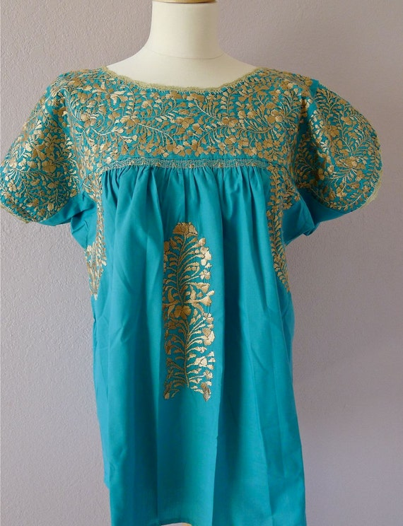 SALE Mexican Embroidered Wedding Dress Blouse Oaxaca