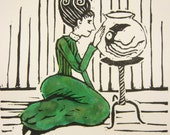 Original linocut print- a lady and her pet squid- matted lino print