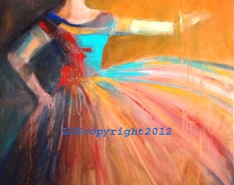 Opera singer OOAK acrylic orange turqouise red painting canvas