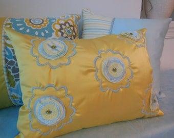 Beaded Pillow - Yellow Pillow - Blue Pillow - Surf and Sun Collection - 12 x 16 inch - Pillowscape Designs' Handmade Abstract Flower Design