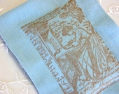 Lavender Sachet- Woman at her Writing Desk w/ Script and Roses, on Soft Blue Linen (Gifts under 10 dollars) Jane Austen/ Virginia Woolf