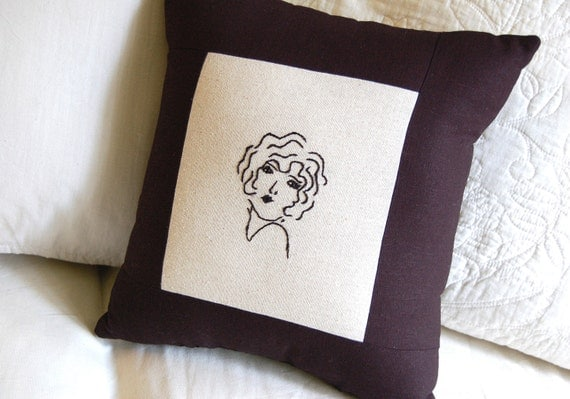 Decorative Flapper Girl Pillow -Hand Embroidered Girl on Cream and Black Linen Pillow (The Great Gatsby/ 1920's)
