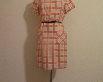1960s orange and white dress