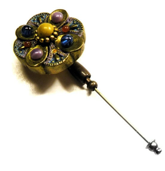 Jewelry Hat Pins: Vintage HAT PIN Jeweled Stick Pin Flowered VICTORIAN
