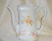 Vintage Bavarian Coffee Pot or Vase ON SALE Porcelain  Delicate Pink Floral Patter. Ornate Design