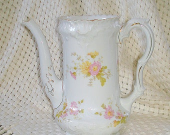 European Coffee Pot or Unique Vase  Vintage REDUCED PRICE Porcelain Delicate Floral Patter Gold Trim Ornate Design
