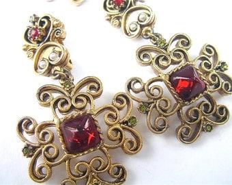 Vintage Garnet Earrings Vintage Gold Yosca Earrings Vintage Seed Pearl Earrings Vintage Gerard Yosca Jewelry Vintage Gold Byzantine Earrings