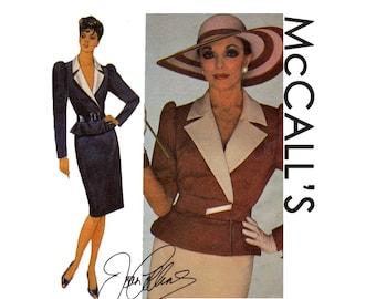 Joan Collins Peplum Jacket Contour Belt Straight Skirt Size 14 Bust 36 Or Size 10 Bust 32 1/2 Uncut Retro Sewing Pattern 1984 McCalls 9035
