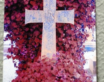 Cemetery Cross Ivy Gothic Bright Colors Signed Print Photo Manipulation Photograph Surreal Dark Jewel Tones Art by LadyAlchemy13