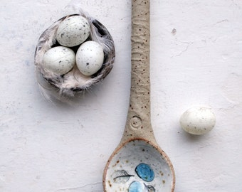 Rustic woodland ceramic spoon sculpture-bird nest with blue eggs