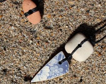 Blue ceramic flower -  sea pottery - pendant - necklace