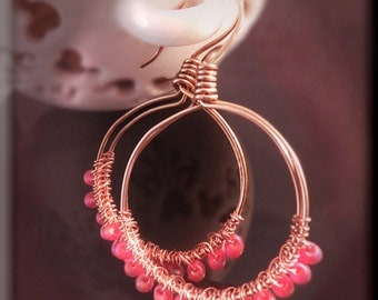 Hoop earrings, bead earrings, woven, wrapped, copper, pink, Miyuki beads, drop earrings