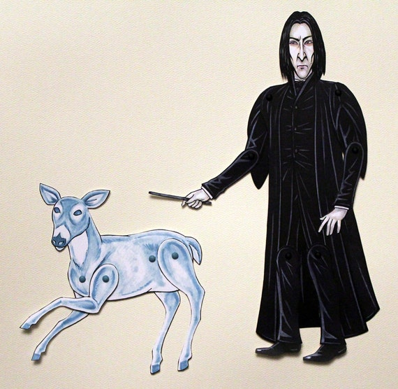 Severus Snape & Patronus Articulated Paper Doll - Harry Potter Inspired - Slytherin
