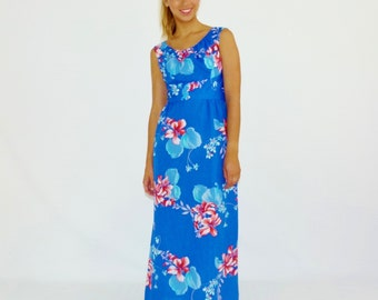 Vintage Maxi, Hawaiian Dress, Blue Dress, 60s Maxi Dress, Royal Blue Beach Dress, Size Small - Medium S M