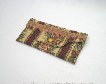 Country Floral Clutch, Burgundy Accent Stripes, Vintage Materials, Golden Button