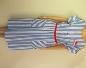 Vintage 1980s Dolina Summer Dress / White and Blue with Red Buttons and Handkerchief / Size M - L