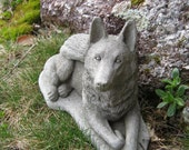 German Shepherd Statue, Dog Angel, Pet Memorial Statue, Concrete Cement Dog Statues With Wings. Pet Angels, Angel Dog Figure.