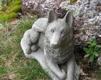 German Shepherd Statue, Dog Angel, Pet Memorial Statue, Concrete Cement Dog Statues With Wings. Pet Angels, Angel Dog Figure.