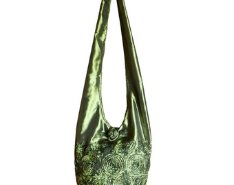 Silk Purse Bag Hippie Hobo Sling Crossbody Messenger Book Bag in Green - Floral Rosette Embroidered