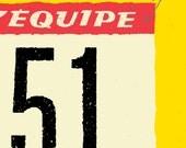 Tour de France, Classic Cycling Race Number 51, Bike Art Print