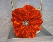 Ivory Flower Girl Basket with Persimmon Flower and Rhinestone Mesh handle and Trim - Persimmon Flower, Orange