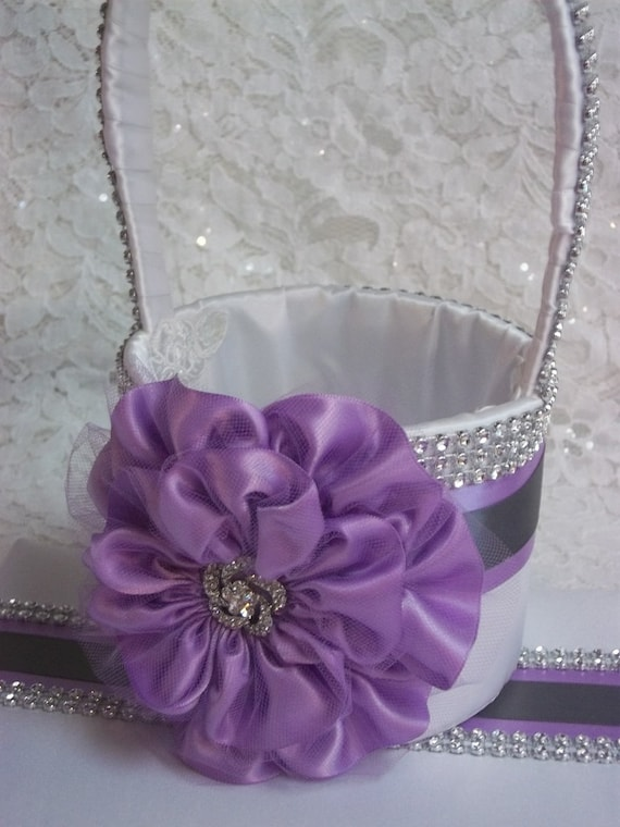 Wedding Basket Flower Girl Basket Lilac Purple Flower Grey Trim