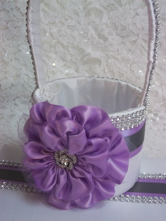 Flower Girl Basket Gray : Wedding basket flower girl lilac purple grey