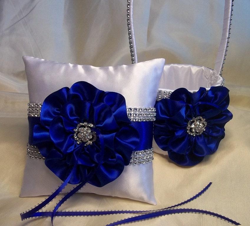 Flower Girl Baskets And Matching Ring Bearer Pillows : White flower girl basket and matching ring bearer pillow