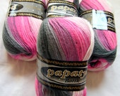 Batik design yarn Papatya, baby friendly hypoallergenic, soft, shades of pinks and grays / greys. OOS