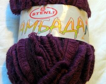 Ruffle yarn, lambada yarn, flamenco yarn, can can yarn, fantasy yarn, sashay yarn. Plump / berry / eggplant color (30) DSH(P2)