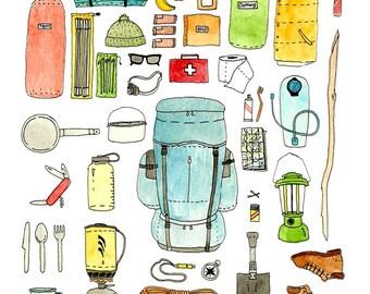 Backpacking gear checklist art print