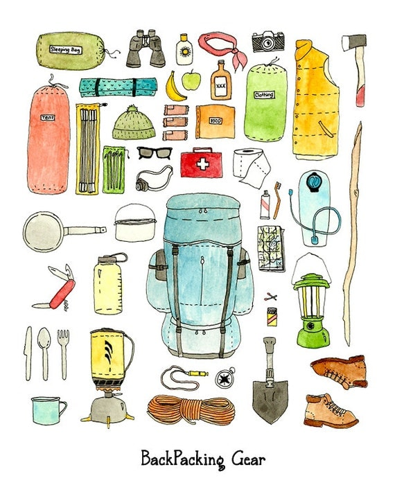 Backyard Camping Checklist : Backpacking gear checklist art print by JodiLynnDoodles on Etsy