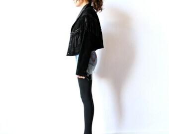 80s Cropped Leather Jacket, Fringed Black Suede Biker Cowboy New Wave heavy metal hard rock slouchy hipster short crop coat
