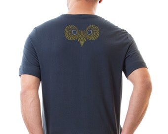 SALE Owl T-shirt For Men, Grey Cotton T shirt, Graphic Tees, psychedelic Owls, animal on shirt  S / M / XL