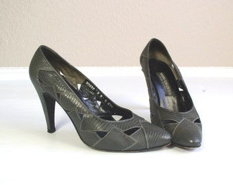 sale vtg 80s Gray leather CUT OUT faux reptile HEELS stilettos 9 shoes Italian pumps Mario Valentino