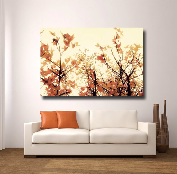 Items similar to large orange wall art canvas gallery wrap tree photography modern wall art - Wall paintings for home decoration ...