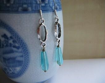 Aqua Blue Earrings - Antiqued Silver Oval Link and Aqua Blue Teardrop Earrings - Aqua Blue Czech Glass Earrings