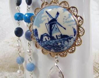 My Blue & White World- Delftware Pendant- Vintage China Handpainted- Sterling Silver-  Aventurine, Prehnite, Quartz, Sodalite, Agate