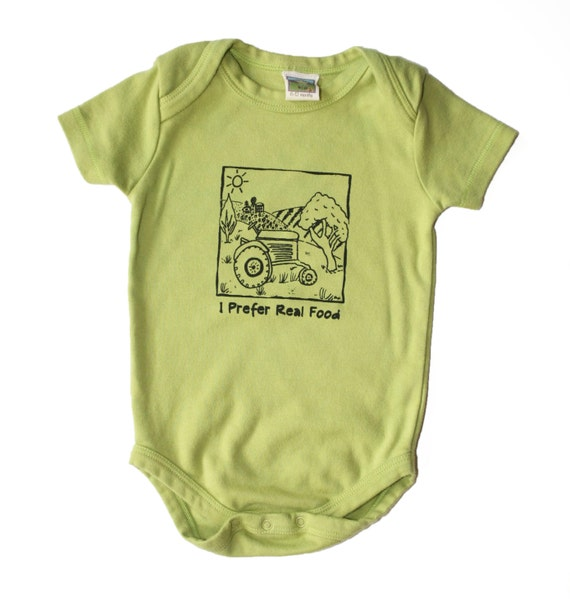 I Prefer Real Food- The Original Handprinted By the Artist 0 3 6 12 18 months Short Sleeve on Organic Kiwi Green  Baby Bodysuit