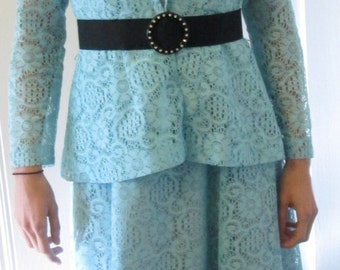 Vintage Turquoise Lace Gown / Mother Of The Bride Groom Gown With Jacket