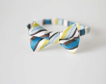 Little Boy Bowtie - Blue and Green Stripes - Baby Boy Tie