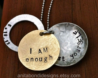 SPECIAL OCCASION PERSONALIZED necklaces mixed metals hand stamped hand sawed customized dates and messages