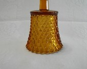 Home Interiors Vintage Amber Glass Diamond Cut Candle Cup for a Candle Holder
